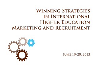 Winning Strategies in International Higher Education Marketing and Recruitment