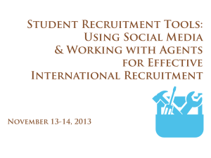 Student Recruitment Tools: Using Social Media and Working with Agents for Effective International Recruitment