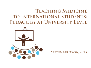 Training: Teaching Medicine to International Students: Pedagogy at University Level