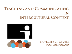 Training: Teaching and Communicating in an Intercultural Context